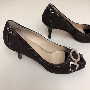 Oscar de la Renta open toe leather Dayla heels